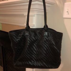 Deux Lux Black Woven Tote Bag